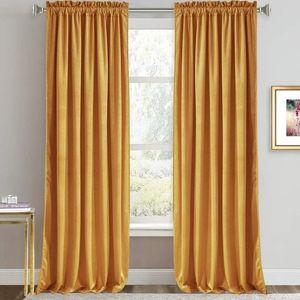 Mustard velvet curtains